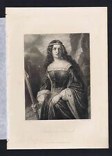 Bertha of Bruneck -Friedrich Schiller's Play Wilhelm Tell 1883 Steel Engraving
