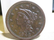 1848 BRAIDED HAIR LARGE CENT AU+ CONDITION