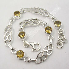 ".925 Solid Silver YELLOW CITRINE GEMS STYLISH Cast Bracelet 7.7"" ADJUSTABLE"