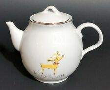 Pottery Barn Christmas Holiday Reindeer Rudolph Teapot with Box Retired