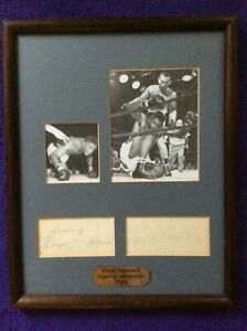 Floyd Patterson & Ingemar Johanssen Signed Display 1960s / Boxing Autographed