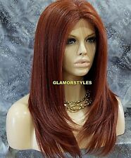 Straight Long Layered Auburn Full Lace Front Wig Heat Ok Hair piece #130 NWT