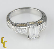 Platinum Emerald-Cut Solitaire Diamond Engagement Ring TDW = 1.65 GIA certified