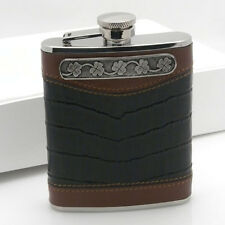 6 oz Leather Whiskey Flask with Irish Shamrock by Mullingar Pewter Captive Lid