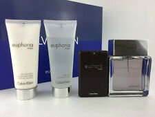 EUPHORIA CALVIN KLEIN MEN 4PC GIFT SET COLOGNE SPRAY 3.4 OZ + A/S + S/G + MINI