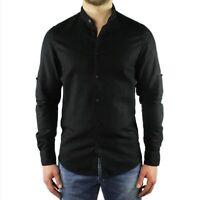 Camicia Uomo Collo Coreana Lino Slim Fit Manica Lunga Estiva Sartoriale Nero