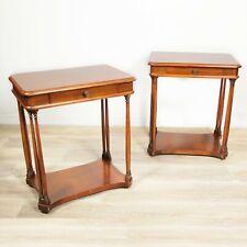 Coppia di comodini tavolino antichi usati stile impero in legno vintage colonne