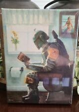 Dropping a Bounty by Bucket Star Wars Boba Fett Parody 12x9 Canvas Wrap Bathroom