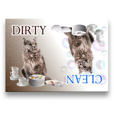 MAINE COON CAT Clean Dirty DISHWASHER MAGNET No 5