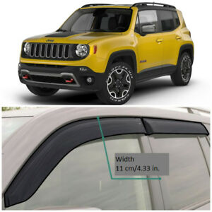 JE11314 Window Visors Sun Guard Vent Wide Deflectors For Jeep Renegade 2014-