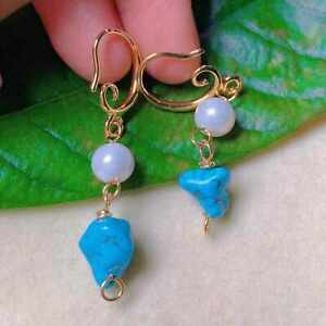 Natural white round Fresh water pearl Blue Turquoise gold earrings gift Fashion