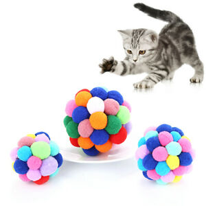Cat Toys Colorful Bells Bouncy Ball Interactive Toys Chew Toys+ Bells