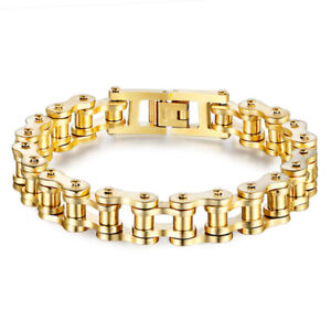 Mens Biker Chain Bracelet Silver Gold Bicycle Link Stainless Steel Wristband New