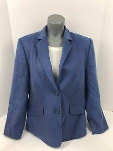 Vintage Clothing Blue Wool Angora Women Blazer Suit Coat Jacket Large Regular