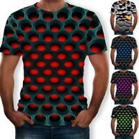 Funny Hypnosis 3D T-Shirt Men Women Colorful Print Short Tops Casual Sleeve Q0V4