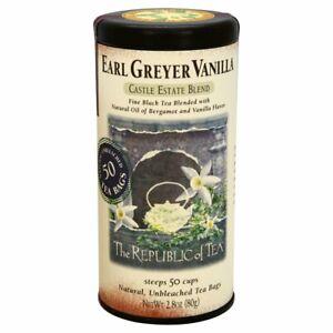 The Republic Of Tea Super Earl Greyer Vanilla Black Tea 50 Tea Bag Tin