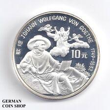 Silber PP China 10 Yuan Johann Wolfgang von Goethe 1992 - Silver proof