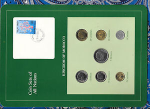Coin Sets of All Nations Morocco UNC wcard 50,20,10 Santimat 1974 5 Dirhams 1980