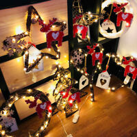 LED String Light Christmas Wreath Wall Door Hanging Ornaments Garland Xmas Decor