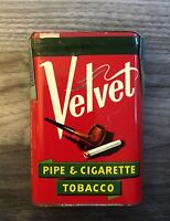 VINTAGE VELVET PIPE AND CIGARETTE TOBACCO TIN NEW TAX STAMP INTACT EXCELLENT 🔥