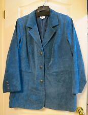 Denim & Co. Washable Suede Button Front Jacket w/ Pockets, Mallard Blue, Size 1X