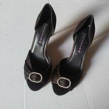 Steve Madden Ware Black Satin Peep Toe Rhinestone Pumps Heels Shoes Size 8.5 M