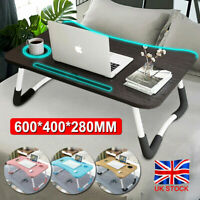 Folding Laptop Bed Tray Table Portable Lap Desk Notebook Breakfast Cup Slot UK