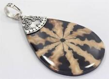 Genuine Bali Shell Black/Brown Oval Pendant w A Handmade Sterling Silver Setting