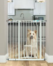 Extra Wide Walk Thru Gate Dog Cat Pet Door Baby Child Toddler Safety Steel White