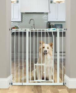 Extra Wide Walk Thru Gate Dog Cat Pet Door Baby Child Toddler Safety Steel White