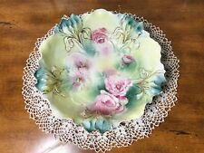 Antique RS Prussia Green Bowl With Roses