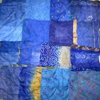 "LOT PURE SILK Antique Vintage Sari Fabrics REMNANT 16 pcs 8"" SQUARES Blue CRAFT"