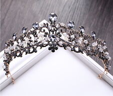 Black Gray Drip Crystal 6.5cm High Adult Wedding Party Pageant Prom Tiara Crown