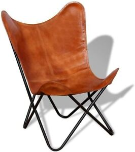 Handmade Retro Vintage Leather Butterfly Chair With Iron Stand and