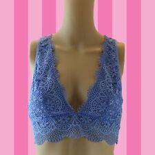 Victorias Secret High Neck Crochet Lace Mesh Bralette Bra, BLUE    SMALL # A85