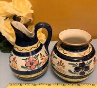 "Vintage Dutch Hand painted in Holland Creamer & Open Sugar Bowl Set 4"" H"