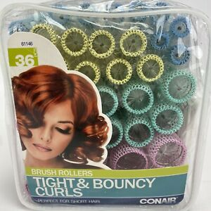 Conair Brush Short Hair Rollers 36 Curlers 4 Sizes Tight & Bouncy Curls 61146