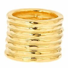 Bita Pourtavoosi Handmade 24k Gold Plated Stuck Together Stacks Cocktail Ring