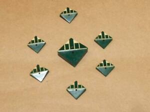 """7 VTG Art Deco Geometric Green & White Carved Early Plastic Buttons 1.25"""" & 3/4"""""""