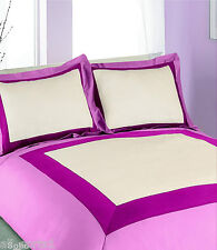 DOUBLE BED SOHO PINK CERISE CREAM SQUARE BORDER POLY COTTON DUVET COVER SET