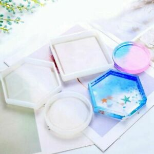 3PCS Coaster Silicone Mould Hexagon Round Square Resin Jewelry Pendant DIY Mold