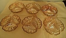 """(6) Vintage Iridescent Marigold Carnival Glass Divided Clover Candy Nut Dish 7"""""""