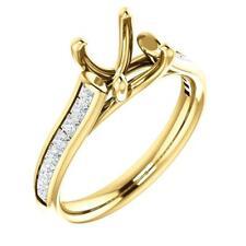 18k Yellow Gold Princess Diamond Channel Semi-Set Engagement Ring Mounting