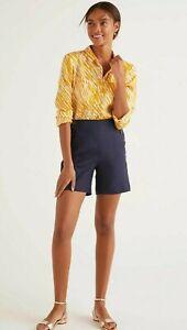 """BODEN Navy Blue Falmouth Pure Linen Shorts UK 14 9"""" Inside Leg Buttons Nautical"""
