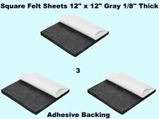 """Square Felt Sheets (3 pack) 12"""" x 12"""" Gray 1/8"""" Thick Peel Adh 00004000 esive Back Pad"""