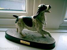 BESWICK DOG SPANIEL ON CERAMIC PLINTH BLACK & WHITE MODEL No 2980 SPIRITED DOGS