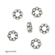 10 Antique Sterling Silver Daisy Rondelle Spacer Beads 4mm #97979
