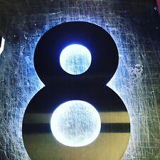 BLACK STEEL LED House Number Brushed Stainless Steel House Made to Order