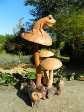Wooden Frog Mushroom Carving - Hand Carved Frog Toad on Parasite Wood