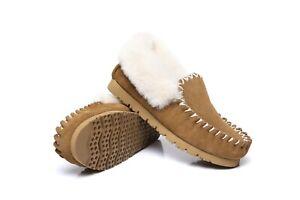 【Chestnut】UGG Australian Merino Sheepskin Moccasins Slippers Casual Slip